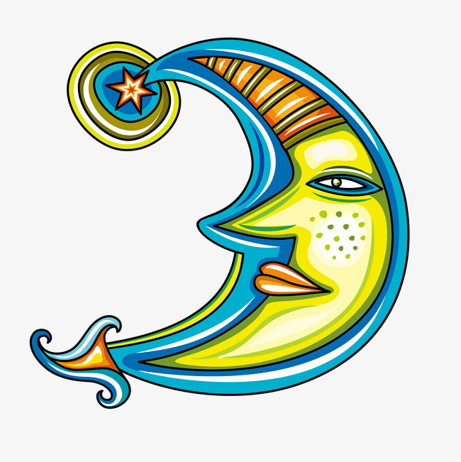 矢量手绘美女月亮