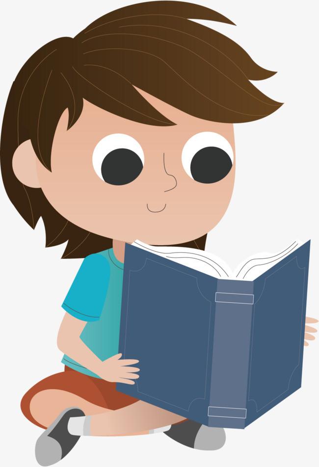 矢量手绘可爱看书小男孩