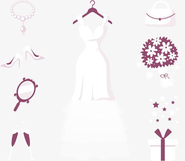 矢量手绘婚纱海报
