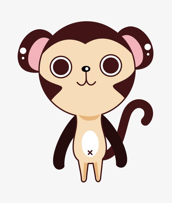 超萌粉耳朵微笑猴子儿童手绘可爱动物手绘下载