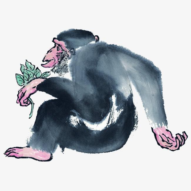 中国风水墨画猴子插画免抠