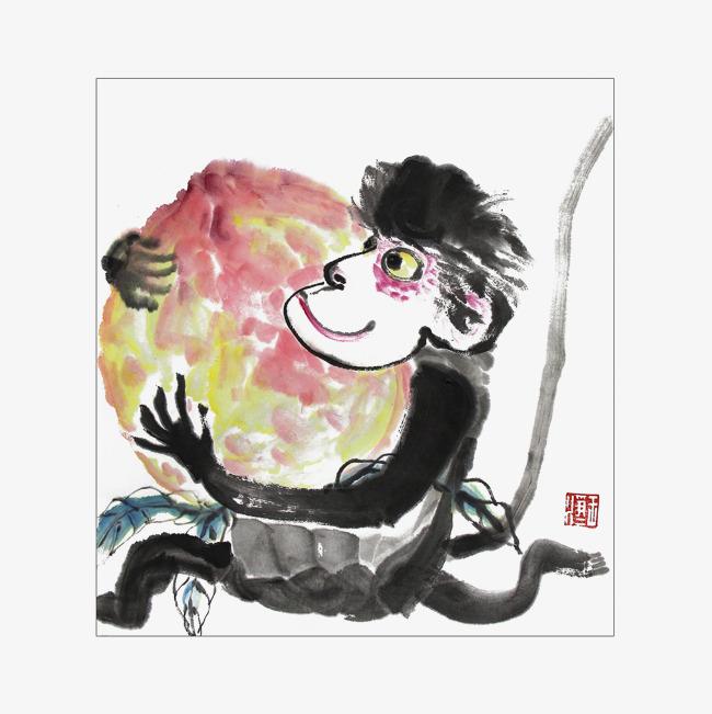 中国风传统水墨画猴子抱桃插画免抠
