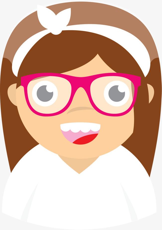 卡通眼镜微笑女孩