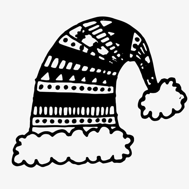 卡通手绘黑色圣诞帽