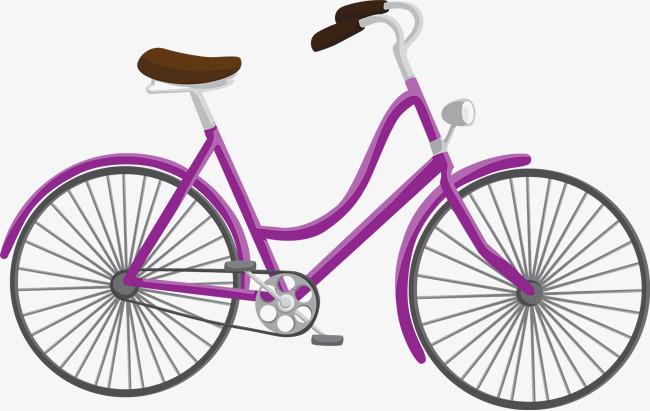 紫色自行车手绘图