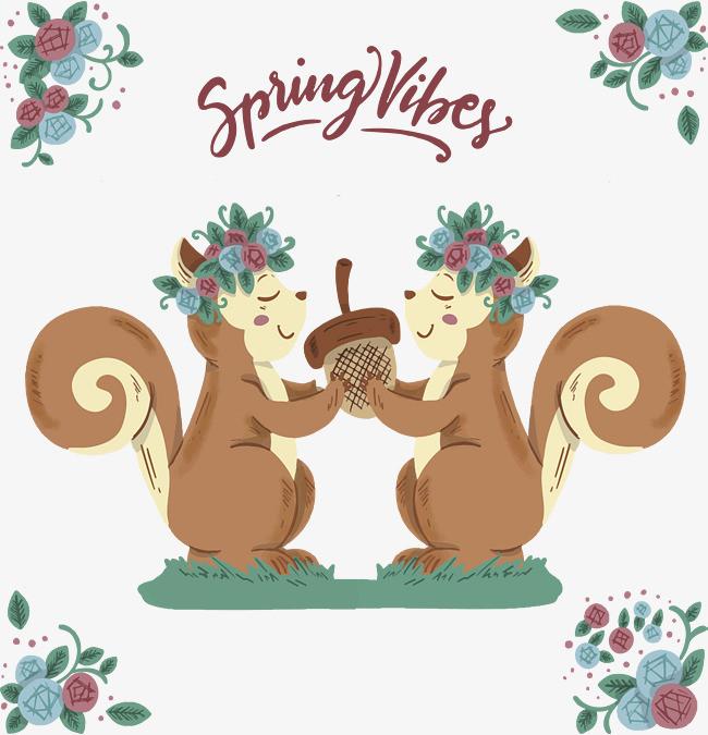 可爱手绘松鼠春天海报