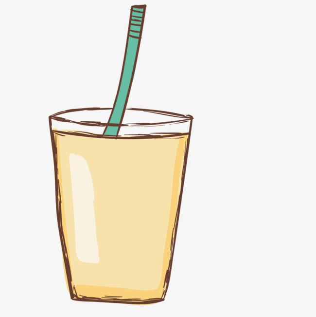 手绘卡通带吸管饮料