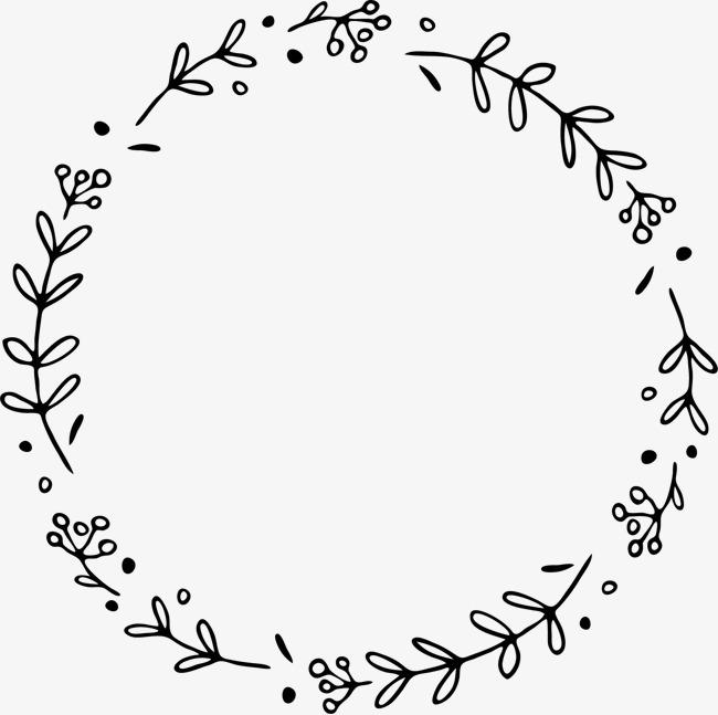 手绘线描小草花环花边