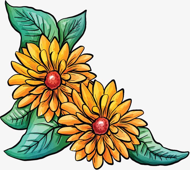 水彩手绘春天花朵