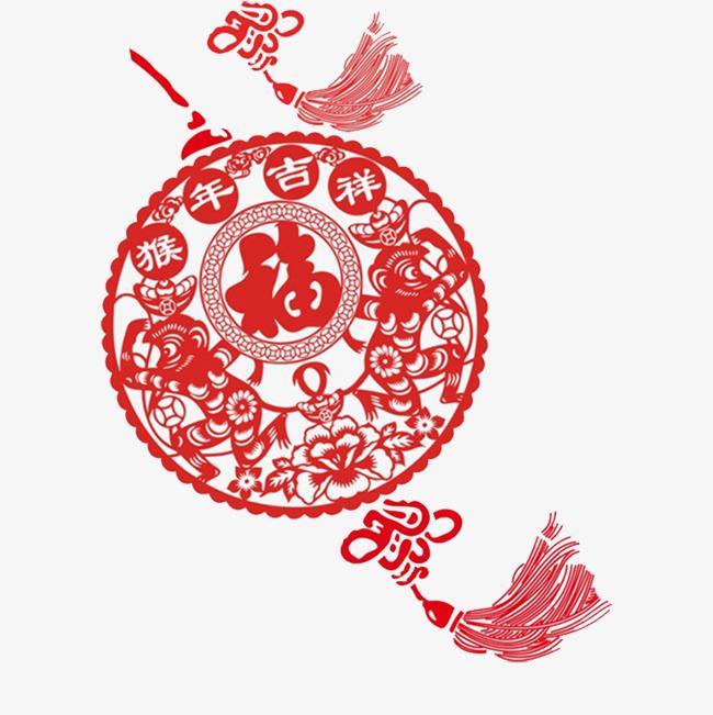 红色圆形福字剪纸元素