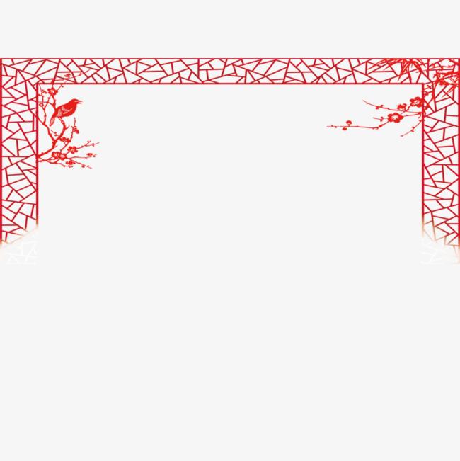红色纹理窗户装饰边框