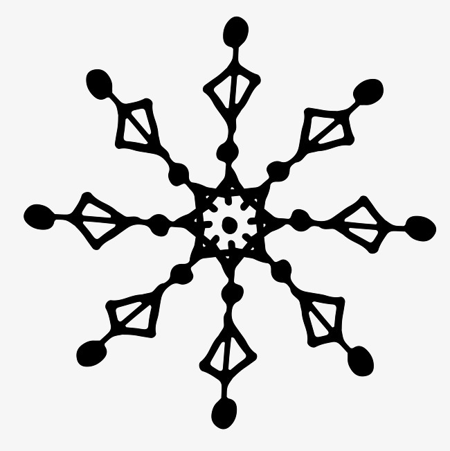 黑色手绘雪花图案