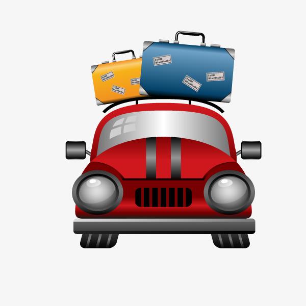 卡通汽车和行李箱