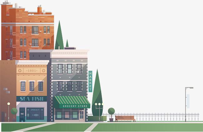 卡通城市街道场景素材图片免费下载 高清psd 千库网 图片编号9816756图片