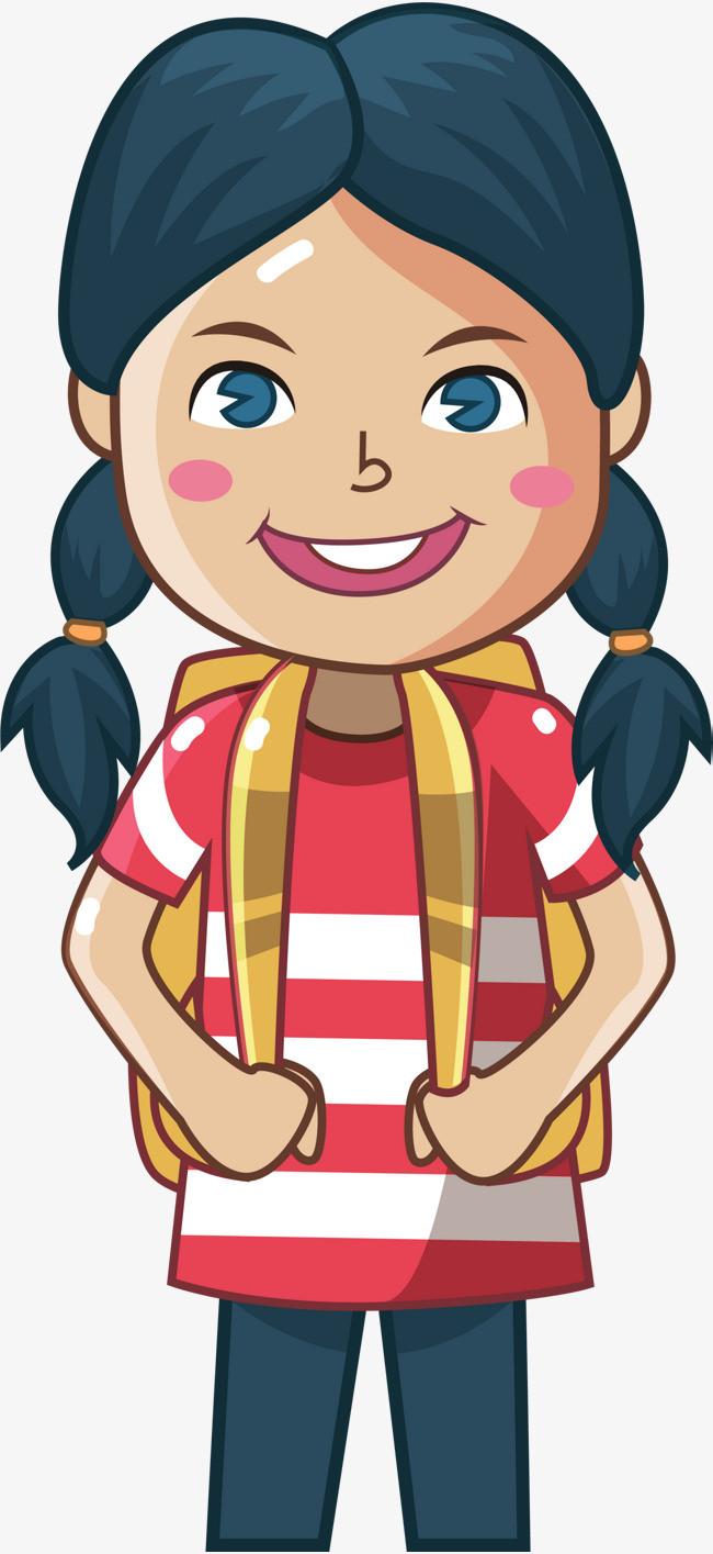 开学季背着书包的小女孩