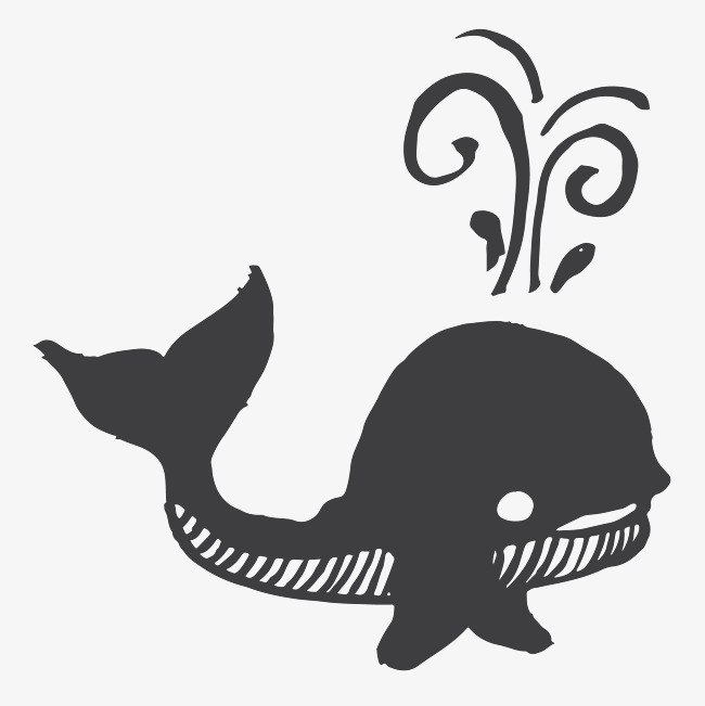 黑色手绘可爱的小鲸鱼