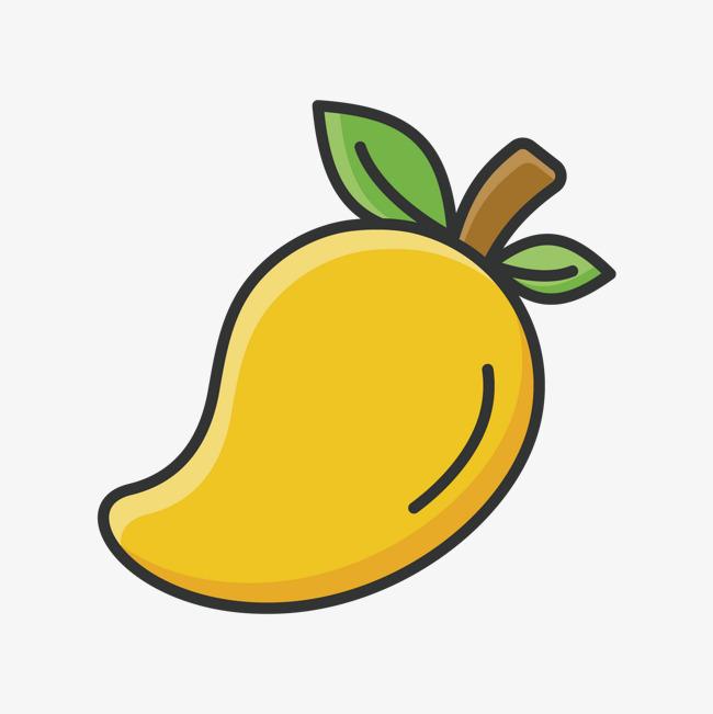 黄色手绘线稿芒果