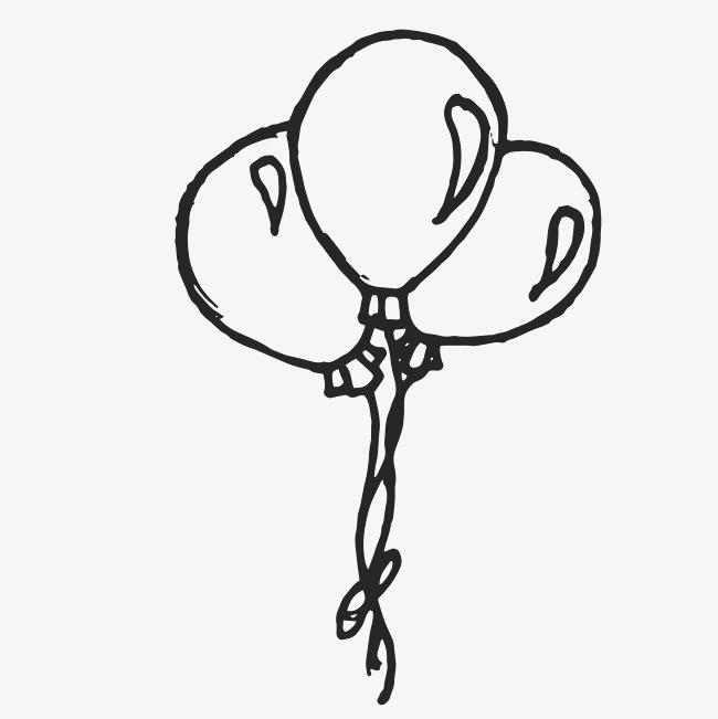黑色手绘线条气球