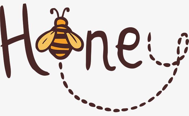 手绘蜂蜜英文艺术字