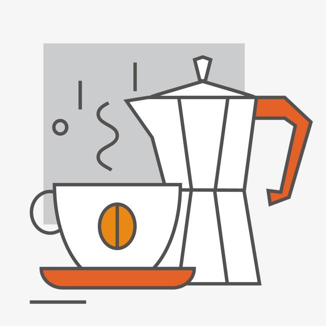 灰色手绘线稿咖啡机元素