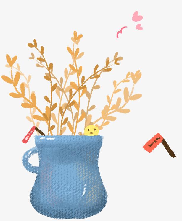 装饰小清新植物手绘盆栽素材