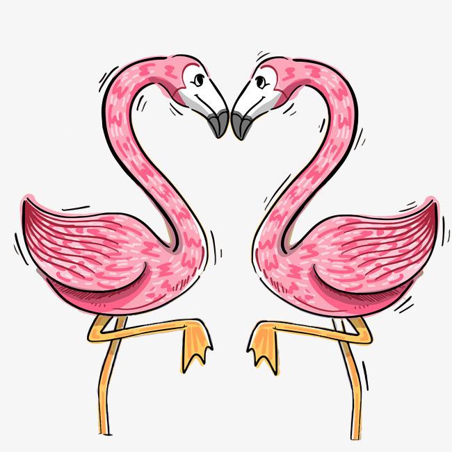 手绘装饰粉色天鹅插画