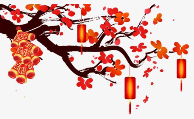 新春装饰手绘梅花灯笼素材