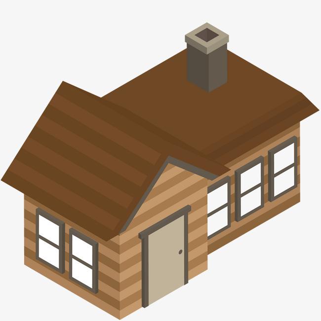 手绘装饰立体房屋素材