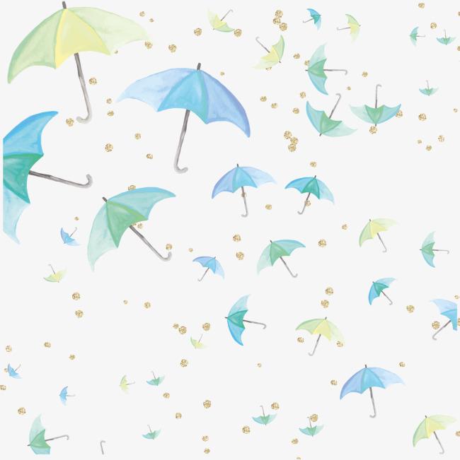 卡通水彩绘雨伞矢量图