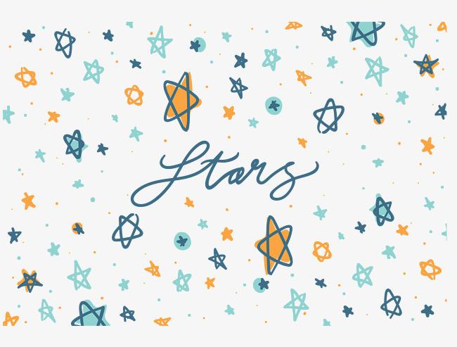 手绘蓝绿色星星花纹