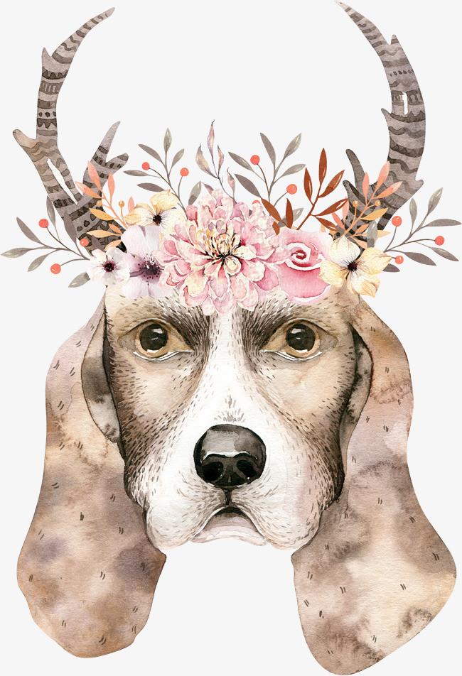 花卉小狗头像简图图片