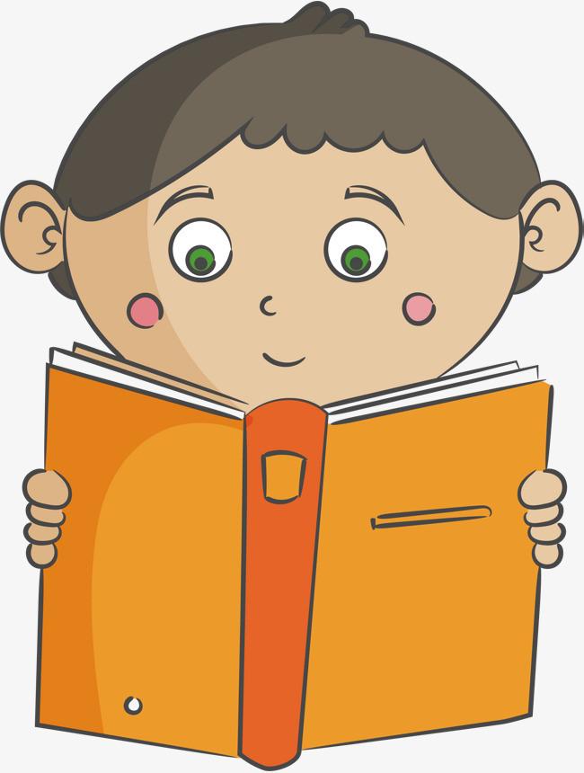看书的小男孩手绘素材