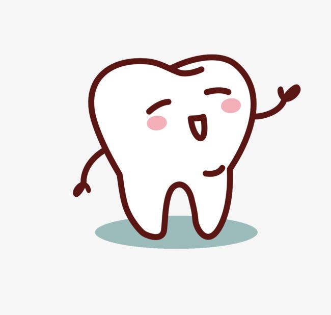 手绘线条牙齿表情