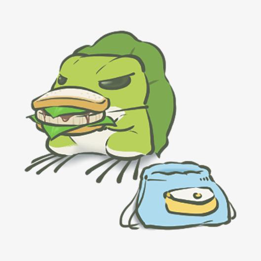 吃三明治的可爱青蛙图片