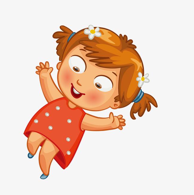 矢量卡通手绘活泼可爱小女孩