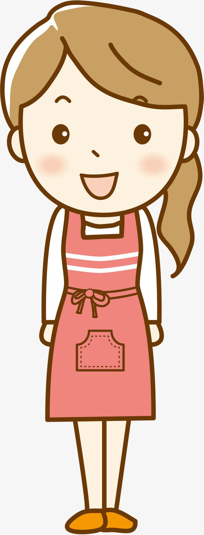 围裙可爱女孩人物插画