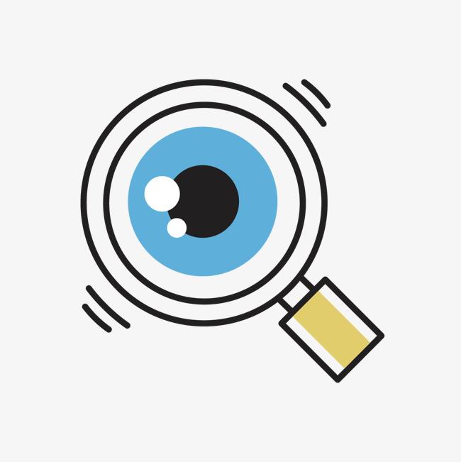 蓝色手绘圆形放大镜元素png素材下载_高清图片png格式