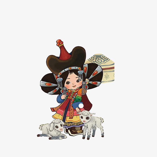 手绘蒙古包蒙古小女孩站着蹲着的小羔羊png免费下载图片