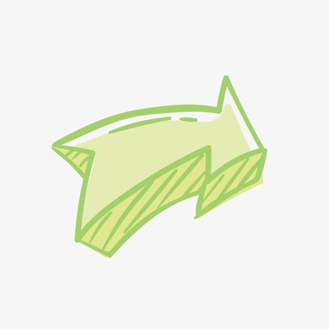 矢量卡通手绘绿色箭头免抠png素材下载_高清图片png