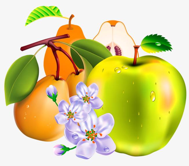 手绘立体3d水果梨苹果
