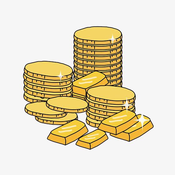 黄色手绘线稿金币元素