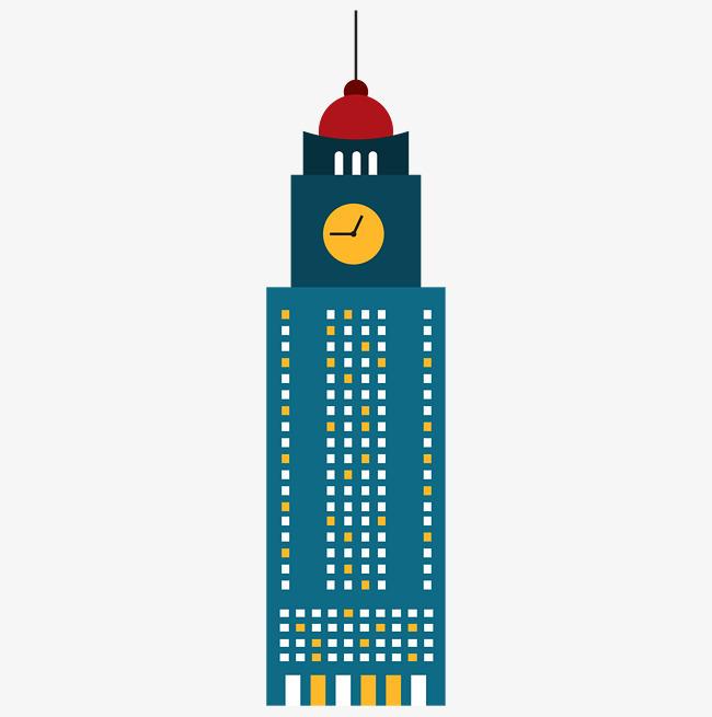 钟表装饰卡通大楼图片