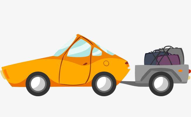 托着行李箱的黄色汽车