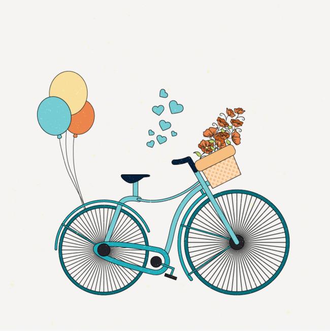 蓝色手绘自行车素材