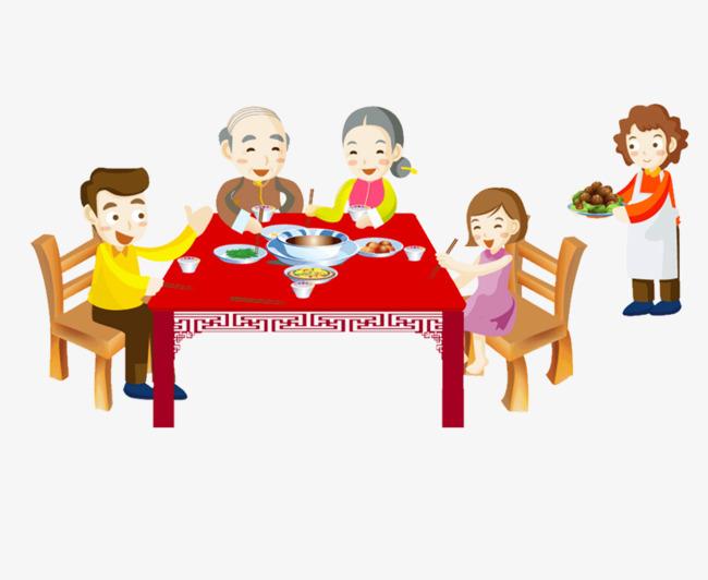 卡通手绘团圆年夜饭