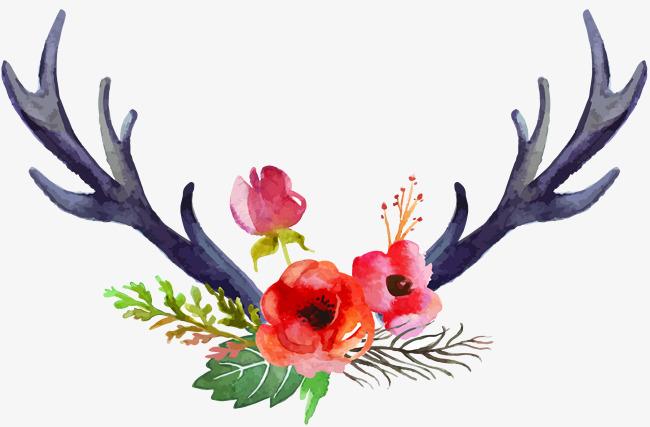 情人节装饰手绘鹿角鲜花素材