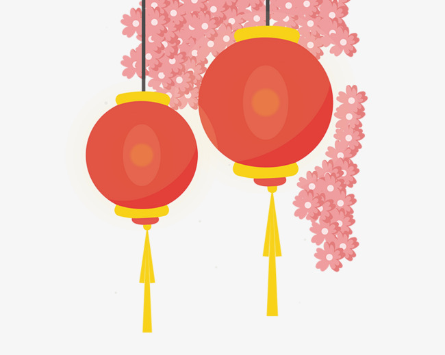 红色的海报边框灯笼装饰