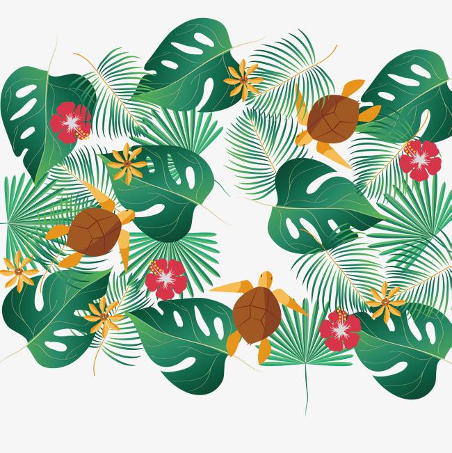 绿色热带植物边框矢量