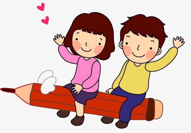 卡通坐在铅笔上的孩子免抠图png素材下载_高清图片png图片