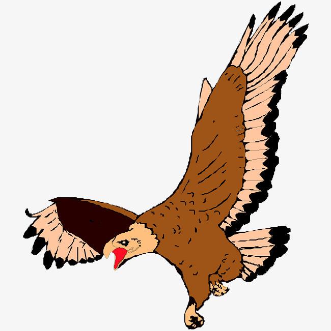 卡通手绘文艺简约动物水粉画老鹰